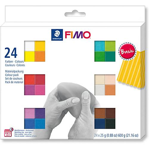 Staedtler FIMO soft Materialpackung Basic Colours, 24 x 25 g